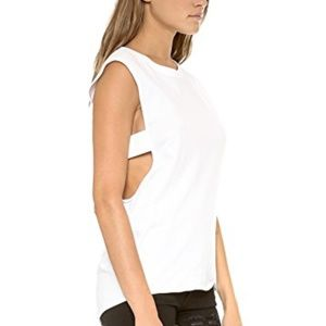 Theyskens' Theory White Elastic Band Cut Out Tank